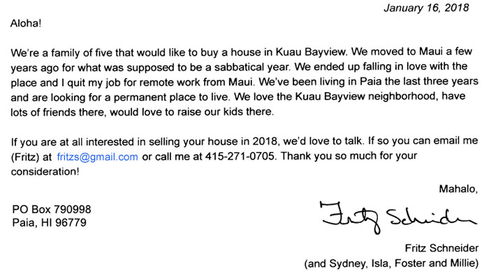 Schneider family wants to buy in Kuau Bayview