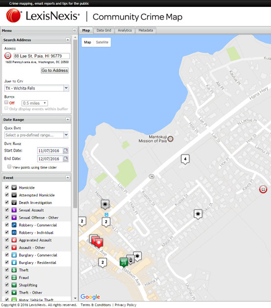 LexisNexis Community Crime Map for Paia