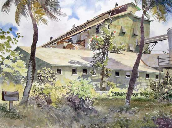 Painting by Eddie Flotte: Return to Sender Paia Mill