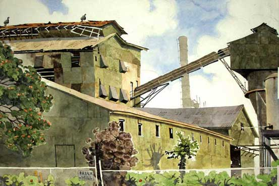 Painting by Eddie Flotte: Sugar Mill Elevator