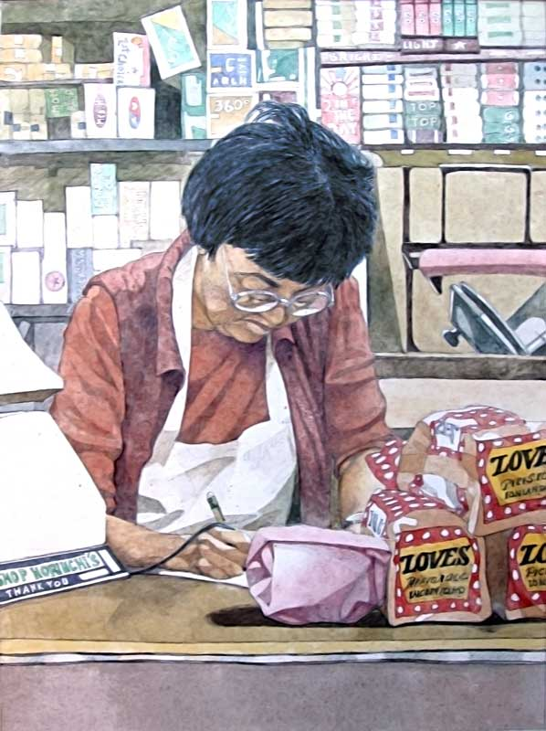 Painting by Eddie Flotte: Mrs Horiuchi