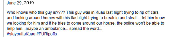 Maui Thieves comments re Jacob Fitzgerald prowling in Kuau