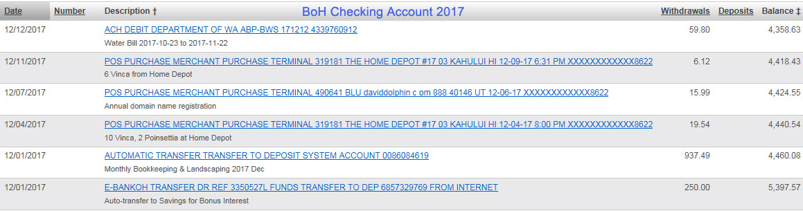 Kuau Bayview Checking Account 2017 Dec Screenshot